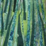 Cut paper strips create the grass.