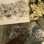 Hot glue monoprinting plate and print